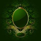 Fondo verde reale con il blocco per grafici dorato. Vettore royalty illustrazione gratis