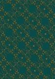 Fondo verde scuro con il modello floreale dell'oro con l'incrocio Fotografie Stock Libere da Diritti