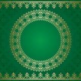 Fondo verde scuro con l'ornamento dorato Illustrazione Vettoriale