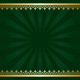 Fondo verde scuro con le decorazioni ed i raggi dorati Immagini Stock Libere da Diritti