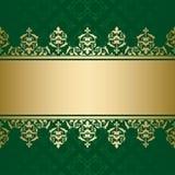 Fondo verde scuro con ornam decorativo dorato Illustrazione di Stock
