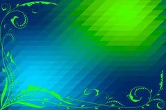 Fondo verde y azul abstracto con los elementos florales y del mosaico Imágenes de archivo libres de regalías