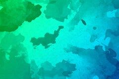 Fondo verde y azul abstracto de la acuarela foto de archivo