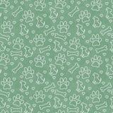 Fondo verde y blanco de la repetición del modelo de la teja del perrito Imagen de archivo libre de regalías