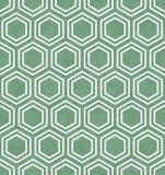Fondo verde y blanco de la repetición del modelo de la teja del hexágono Foto de archivo