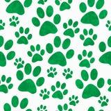 Fondo verde y blanco de Paw Prints Tile Pattern Repeat del perro Fotos de archivo