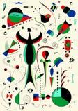 Fondo verticale leggero astratto, ispirato dal pittore Miro Immagini Stock