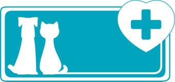 Fondo veterinario con il cane, il gatto ed il si medico Fotografia Stock Libera da Diritti