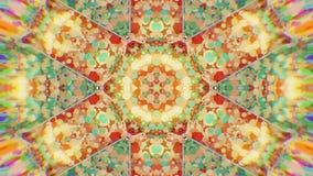 Fondo video caleidoscópico colorido Modelos caleidoscópicos coloridos Enfoca adentro el diseño del círculo de color del arco iris almacen de metraje de vídeo