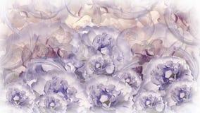 Fondo viola-bianco-grigio floreale peonie bianche rosso dei fiori collage floreale Composizione nel fiore Immagine Stock Libera da Diritti