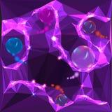 Fondo viola e rosa astratto con delle palle d'ardore dell'arcobaleno Immagine Stock
