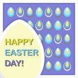 Fondo violeta de papel feliz de Pascua de la postal Foto de archivo