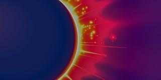 Fondo violeta del vector abstracto con el planeta y el eclipse de su estrella Brillo brillante de la luz de la estrella de los bo Foto de archivo