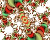 Fondo vivo blanco rojo verde del extracto del fractal, textura florida fotos de archivo libres de regalías