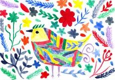 Fondo vivo moderno astratto acquerello con l'uccello e il flowe Immagini Stock