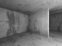 Fondo vuoto concreto scuro dell'interno della stanza Fotografie Stock Libere da Diritti