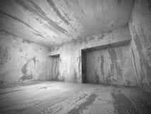 Fondo vuoto concreto scuro dell'interno della stanza Fotografia Stock Libera da Diritti