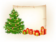 Fondo y bandera de la Feliz Navidad Foto de archivo
