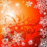 Fondo y copos de nieve florales stock de ilustración