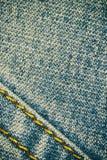 Fondo y costura de la textura de los tejanos para el área de texto Imagen de archivo