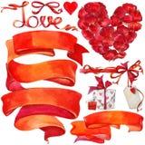 Fondo y elementos del día de San Valentín para la decoración Foto de archivo