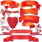 Fondo y elementos del día de San Valentín para la decoración Imagen de archivo