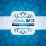 Fondo y etiqueta azules de la Navidad con el offe de la venta Foto de archivo libre de regalías