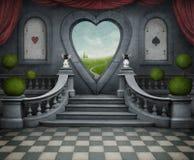 Fondo y puerta fantásticos del corazón. ilustración del vector