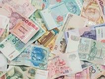 Fondo y textura del dinero de Asia Moneda de Kazajistán, de Hong Kong, de Indonesia, de Malasia, de China, de tailandés y Singapu Fotos de archivo libres de regalías