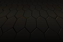 Fondo y textura negros del hexágono Fotografía de archivo