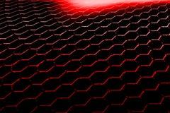 Fondo y textura rojos del hexágono Imagen de archivo