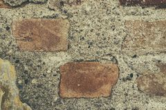 Fondo y textura sucios de la pared de ladrillo del abandono Imagenes de archivo
