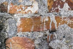 Fondo y textura sucios de la pared de ladrillo del abandono Fotos de archivo