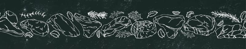 Fondo y tiza negros del tablero Cinta de los tipos populares del filete Menú del restaurante del asador Ilustración drenada mano  ilustración del vector