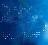 Fondos abstractos borrosos azules de la Navidad con las estrellas blancas Imagen de archivo