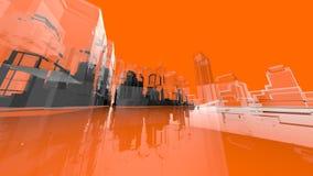 Fondos anaranjados de los conceptos de la creatividad de la arquitectura de Wireframe Imagenes de archivo