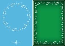 Fondos azules claros y verdes con los marcos blancos de la música del vector stock de ilustración