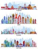 Fondos de Florencia, de Dubai, de Nueva York y de Estambul ilustración del vector