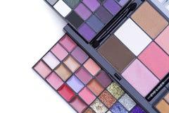 Fondos de la belleza, vista superior del SE hermoso de la paleta del maquillaje del color fotografía de archivo libre de regalías