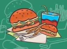 Fondos de la comida y de la bebida del diseño del vector de la escena de la hamburguesa imagen de archivo