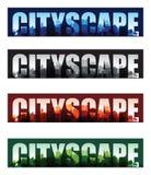 Fondos de la impresión sobrepuesta del paisaje urbano stock de ilustración