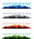 Fondos de la impresión sobrepuesta del paisaje urbano ilustración del vector