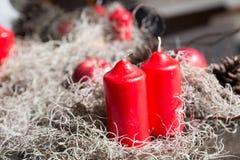 Fondos de la Navidad - cono rojo de la vela, de la manzana y del pino Imagen de archivo libre de regalías