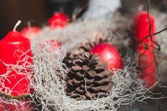 Fondos de la Navidad - cono rojo de la vela, de la manzana y del pino Imágenes de archivo libres de regalías