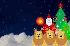 Fondos de la Navidad en la nube con Santa Claus y el reno Foto de archivo libre de regalías