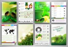 Fondos de la plantilla de Infographic del día de St Patrick Fotos de archivo