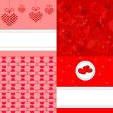 Fondos de la tarjeta del día de San Valentín fijados Imágenes de archivo libres de regalías