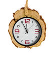 Fondos de Navidad con los relojes en el fondo blanco Fotografía de archivo libre de regalías