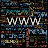 Fondos de WWW con las palabras Foto de archivo libre de regalías