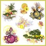 Fondos del árbol fijados Imagenes de archivo